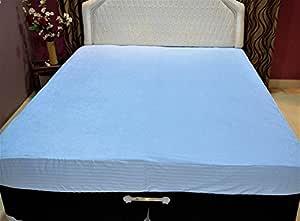 Trance Home Linen Waterproof & Dustproof Mattress Protector_Cotton Terry_ Queen Size_78 x 60_ Sky Blue