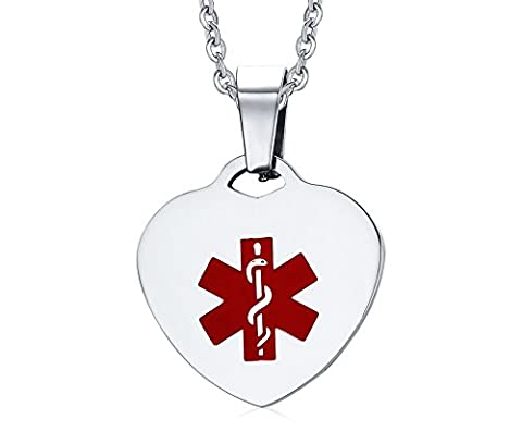 Vnox Men's Women's Stainless Steel Heart Tag Medical Alert ID Pendant Necklace with Quality Silver (Peridot Forma Di Cuore Ciondolo)
