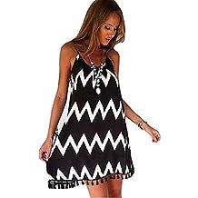b4ea5b34e95 Biuday Vestido de Moda de Las Mujeres Rayas causales Gasa Suelta Vestido de  la Vestidos