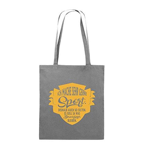 Comedy Bags - Ich mache sehr gerne sport deshalb auch so selten - Jutebeutel - lange Henkel - 38x42cm - Farbe: Schwarz / Pink Dunkelgrau / Gelb