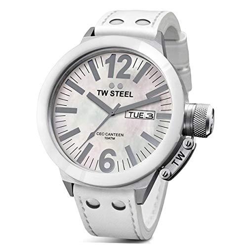 Tw Steel CE1037 - Reloj con correa de piel para mujer, color blanco/gris
