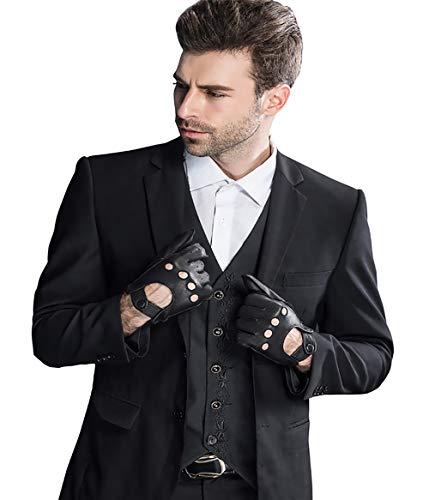 "YISEVEN Herren Fingerlose Hirschleder Lederhandschuhe Halbfinger Autofahrer-Handschuhe Winter Leder, schwarz Klein/8.5"""
