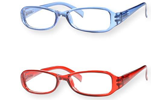 Lesebrille 2er Set blau rot Federbügel oval eckig leicht Damen Herren Lesehilfe Sehhilfe 1.0 1.5 2.0 2.5 3.0 2er Paket Modell 761, Dioptrien:Dioptrien 1.0