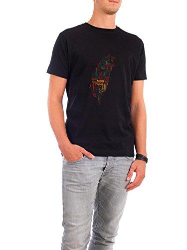 """Design T-Shirt Männer Continental Cotton """"Taiwan Map"""" - stylisches Shirt Typografie Kartografie Reise Reise / Länder von David Springmeyer Schwarz"""