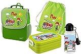 Mein Zwergenland Set 5 Kindergartenrucksack mit Brotdose, Turnbeutel aus Baumwolle und Trinkflasche Happy Knirps Next mit Name Feuerwehr, 4-teilig, Grün