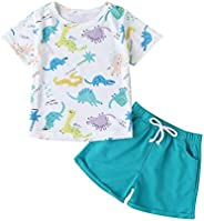 Zrom 1-5 Years Toddler Kids Baby Boys Print Dinosaur T-shirt Shorts Outfits Set Sports Clothes