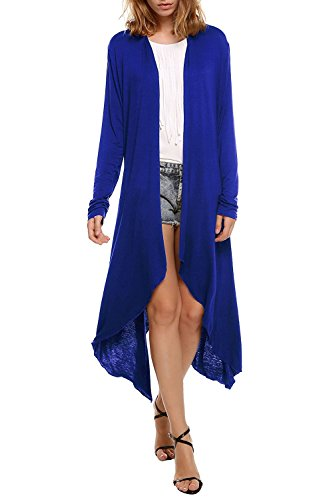 ALAIX Damen Wasserfall Leicht Lang Cardigan Langarm Strickjacke Outfits Dunkelblau-L (Niedlich Fitness-outfits)
