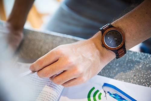 Zeitholz Herren-Holzuhr analog mit Sandelholz-Armband Modell Zittau schwarz - braun - 2