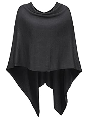 DJT Women Plain Asymmetric Knitted Poncho Cape Sweater Shawl Wrap