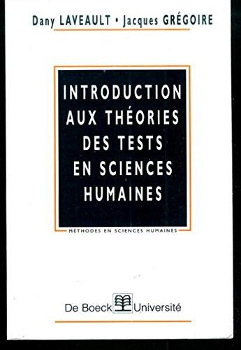 Introduction aux théories des tests en sciences humaines
