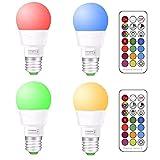 LED RGBW Lampe mit Fernbedienung | e27 farbwechsel led | 3W(ersetzt 20W) Dimmbare Birne mit RGB und Warmweiß(2700 Kelvin) | E27 RGB LED Birnen - Dual Memory | für Beleuchtung Party Deko(4-er Pack)