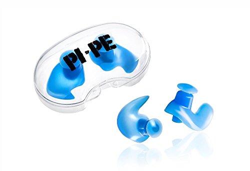 PI-PE wasserdichte Ohrstöpsel für Erwachsene aus Silikon - Komfortable Ohrenstöpsel zum Schwimmen, Tauchen und Schnorcheln - Ohrschutz gegen Wasser mit Aufbewahrungsbox in blau
