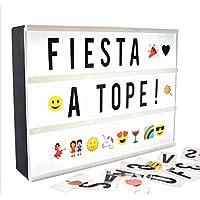 Caja de luz con letras (A4 LED Caja de Cine Lightbox Caja luminosa) 181 letras, numeros, y emojis (coloridos) y 1,5m USB, ideal para celebrar ocasiones especiales