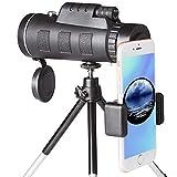 [2018 Aktualisiert] 40X60 Monokular Teleskop HD Monokular mit mobilem Adapter & Stativ, Wasserdicht & Stoßfest, optimal geeignet für Camping, Vogelbeobachtung, Reisen,Tiere & auch für die Jagd