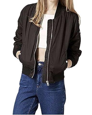 StyleDome Femme Veste Zipper Manches Longues Slim Casual Baseball Vntage Manteau Bomber Blouson Noir EU 36