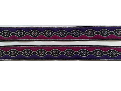 (2 m Borte Indien Trachten Sari Landhaus Dirndl Wiesn 25 mm breit Farbe: pink-lila-schwarz-lurexsilber)