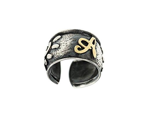 Ring Bandeau (padre Nostro Ring Bandeau mit Buchstabe A in Silber 925geschwärzt verstellbar von 13,5ITA)