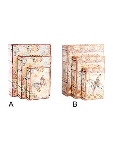 Boîte en bois avec le livre de la forme - Modèle de papillons. Set de 3 boîtes - B