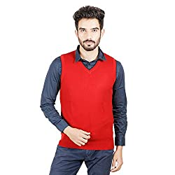 Numero Uno Red Sleeveless Acrylic V-Neck Sweater (XXX-Large)