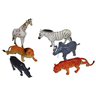 Idena 4329901 - 6 Zootiere im Beutel, ca. 15 cm