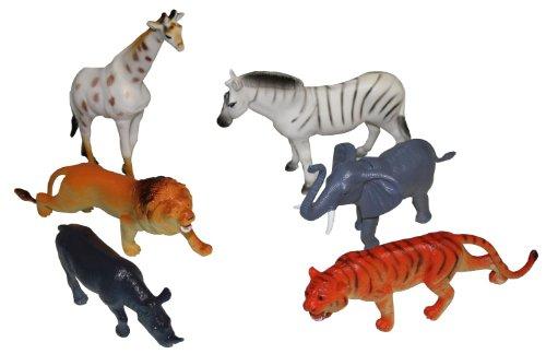 Idena 4329901 Spielfigurenset mit 6 Zootieren, aus Kunststoff, frei von BPA und Phthalaten, je ca. 15 cm
