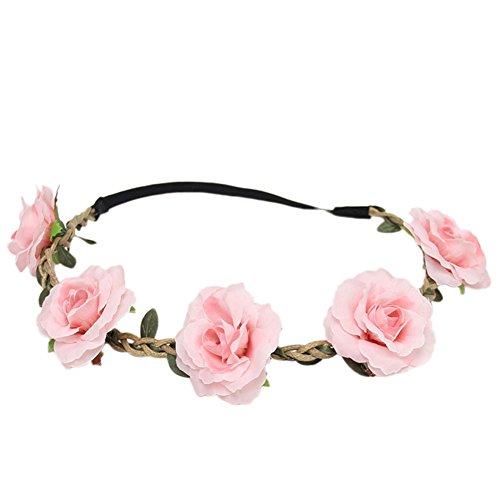 arband Kopfband Haarschmuck mit Blumen Deko aus Kunststoff und elastische Seil Rosa (Blume-stirnband)
