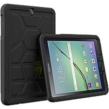 Funda Galaxy Tab S2 9.7 - Poetic [Serie Turtle Skin] Funda Galaxy Tab S2 9.7 - [Protección Esquina/Parachoques] [Amplificación de Sonido] Funda Protectora de Silicón para Samsung Galaxy Tab S2 9.7 Negro (3 Años Garantía del Fabricante Poetic)