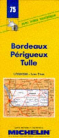 Carte routière : Bordeaux - Périgueux - Tulle, 75, 1/200000
