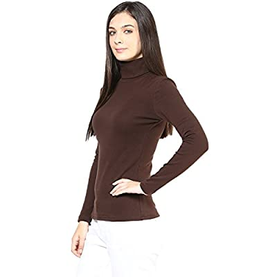 Hypernation Brown Color High Neck T-Shirt for Women