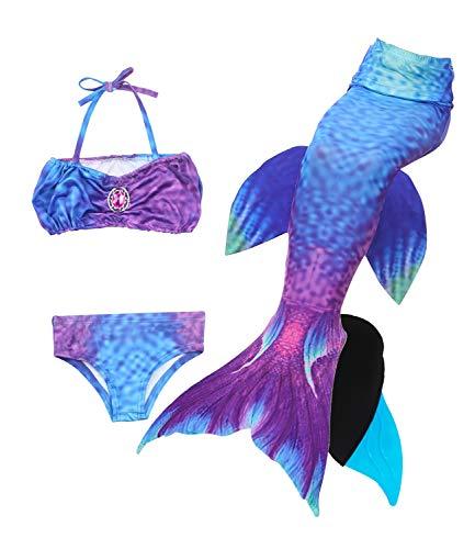 Le SSara 2018 Mädchen Meerjungfrau Tails Bikini Badeanzug setzt 4 Stücke Bademode mit Flosse für Schwimmen Cosplay Partei (130, JP99-Blue)