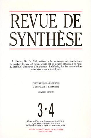Revue de Synthèse, numéro 3-4, Juillet-Décembre 1989 : Cité antique