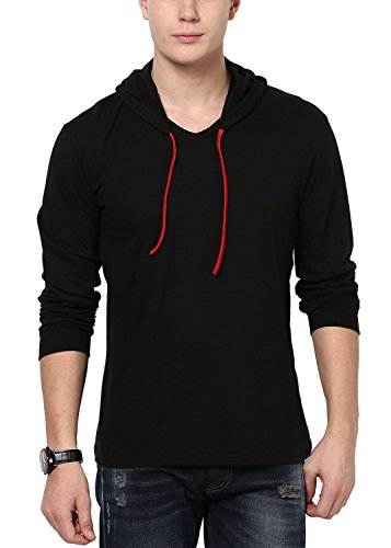 STYLE SHELL Men's Hooded Full Sleeve Cotton T-Shirt (Medium, Black)