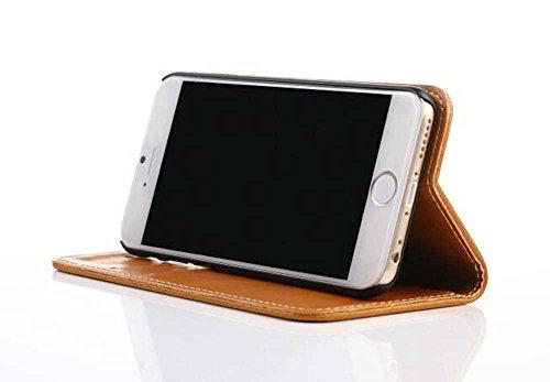 CATOE Luxus PU Leder Flip Case Wallet Magnet Stand Cover mit Kartenschlitzen für Apple iPhone 611,9cm braun
