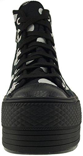 Maxstar C50 7 trous avec fermeture Éclair haute et plateforme Baskets chaussures Noir - Dot-Black