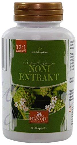 Hanoju Noni 12:1 Extrakt 450 mg 90 vegetarische Kapseln, 1er Pack (1 x 50 g)