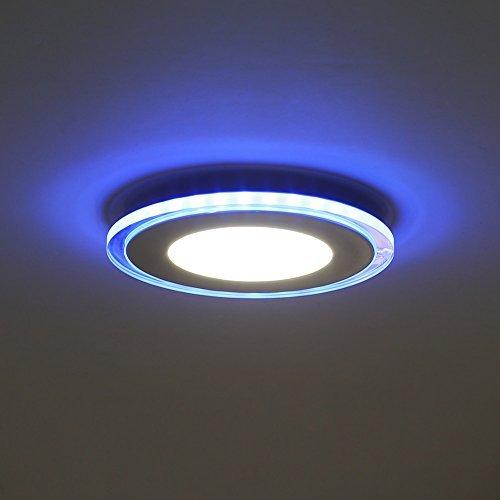 Preisvergleich Produktbild Amzdeal 10W LED Panel Deckenleuchte, Durchmesser 130mm, neutralweiß+blau
