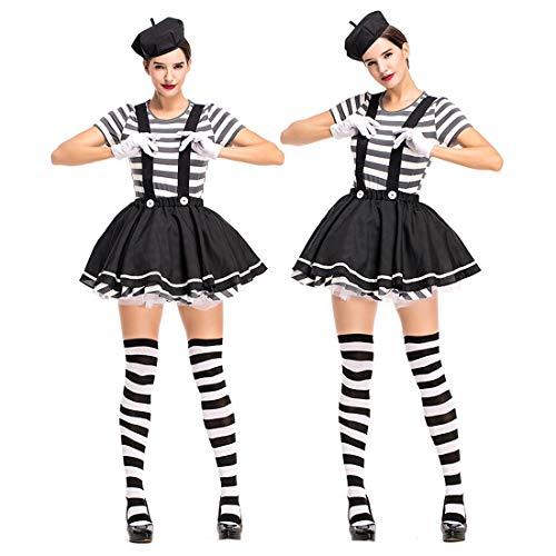 Ziemlich Clown Kostüm - HOOLAZA Frauen Harlekin Clown Kostüm Ziemlich Cosplay Kleid 4 Stücke Bühnenkostüm