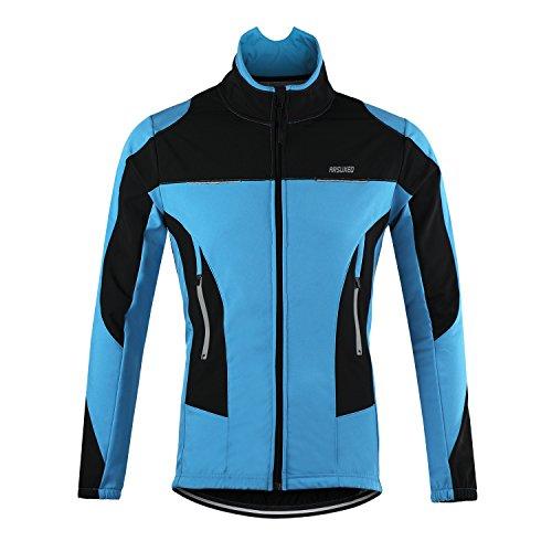 d.Stil Herren Fahrradjacke Langarm Fleece Winddicht MTB Jacke S - 2XL (Blau, L (Körpergröße: 175-180 cm Gewicht: 70-80 kg))
