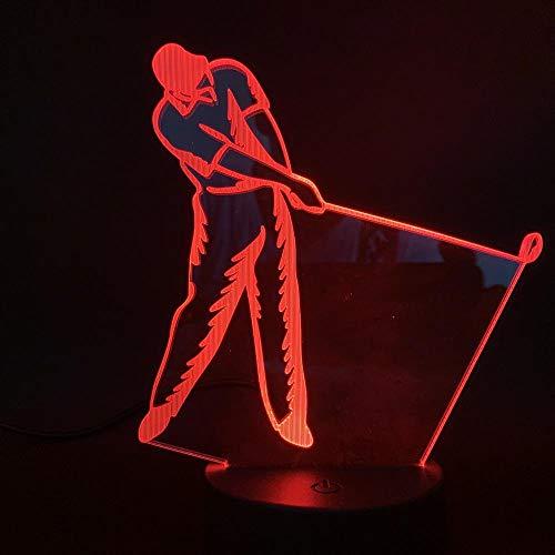 Xiujie 3D Nachtlicht Spielen Sie Golf 7 Farbe Illusion Lampe Kinder Usb Berühren Sie 3D Tischlampe Halloween Weihnachten Kinder Geschenk Schlafzimmer Nachttischlampe
