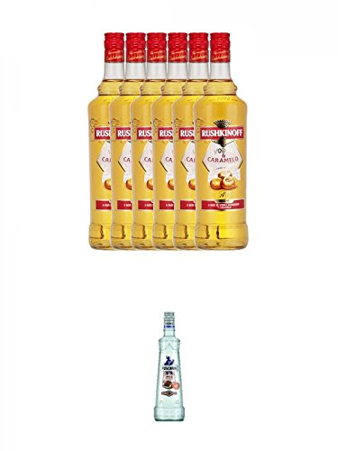 Rushkinoff Vodka & Caramello 6 x 1,0 Liter + Puschkin Nuts & Nougat 0,7 Liter