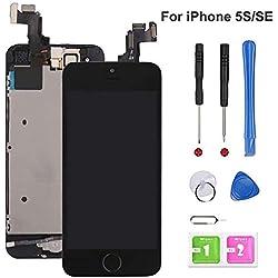 EXW Écran LCD Tactile de Remplacement pour iPhone 5S, modèle Complet avec Bouton Home, caméra Frontale et capteur de proximité, Haut Parleur Interne, Outils de réparation complets, Protection d'écran
