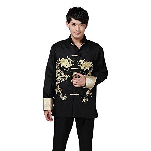 BOZEVON Chinesische Kleidung Tang Anzug, Alten traditionellen Kostüm Martial Arts tangzhuang Kung Fu Lange Ärmel Jacke passt Hemd Uniform (Schwarz)
