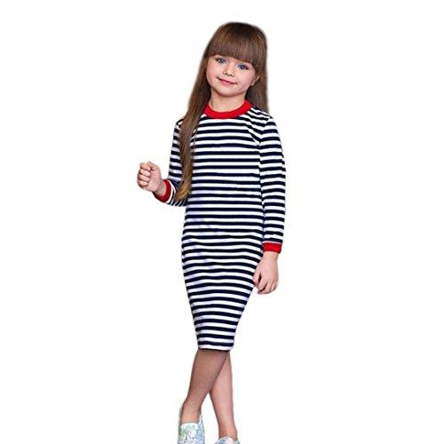 (JERFER Kleinkind Baby Kinder Mädchen Streifen Kleid Mode Langarm Kleidung Outfits)