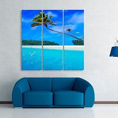 Y & M l'horloge de la côte et palmiers de coco en toile de Chanvre 3pcs 28\