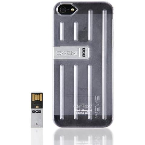 Veho VUS-002-5T SAEM S7 - Carcasa para iPhone 5 y 5S (incluye USB de 8 GB integrado), transparente