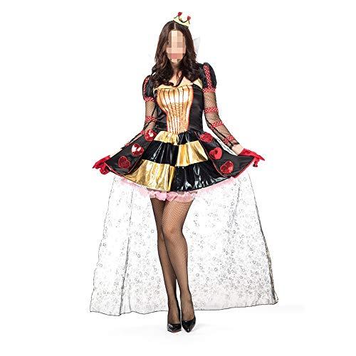 Halloween Alice Im Geist Wunderland Kostüm - kMOoz Halloween Kostüm,Outfit Für Halloween Fasching Karneval Halloween Cosplay Horror Kostüm,Alice Im Wunderland Poker Prinzessin Queen Cosplay Queen Halloween Kostüm Versuchung