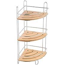 MSV 140612 - Estantería de ducha de ángulo, 3 niveles, bambú y metal, color beige