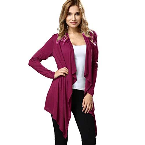 UFACE Damen Frauen Langarm Fledermaus Strickjacke lose Schal Kimono Cardigan Top Cover Up Bluse Outwear Solid(Wein,EU/46CN/L)