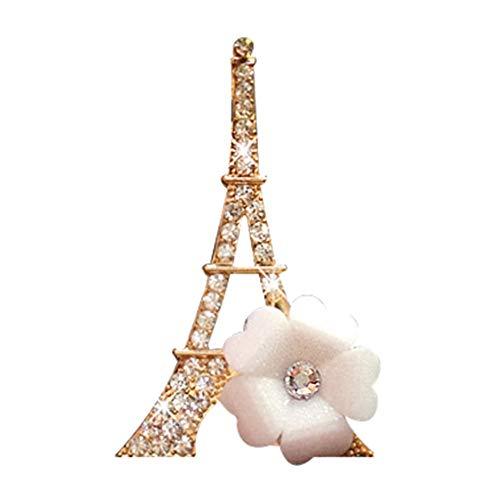 lamta1k Strasssteinchen Eiffelturm Blume Auto Lufterfrischer Parfüm Aroma ClipParty Hochzeit Decor - Weiß weiß