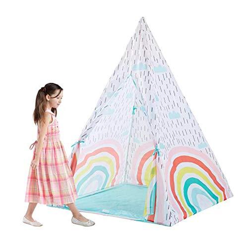 ZBHGF Kinderspielzelt,Klappspielzeug Haus Für Drinnen Und Draußen, Jungen Oder Mädchen, Indisches Zelt des Blauen Regenbogens, 100 * 100 * 140Cm